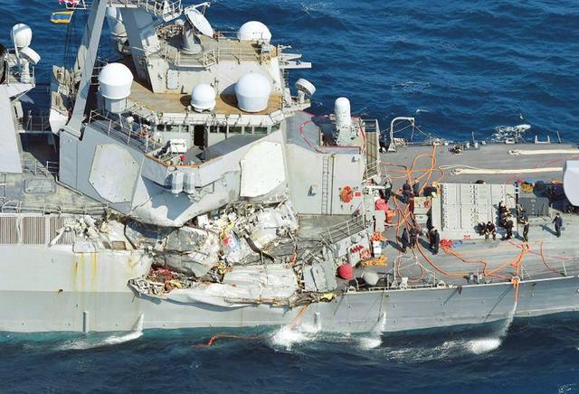 美軍「撞船」宙斯盾艦被運回美國 維修費用上億