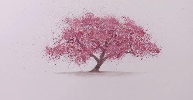 水粉樱花树教程_手绘水粉樱花树