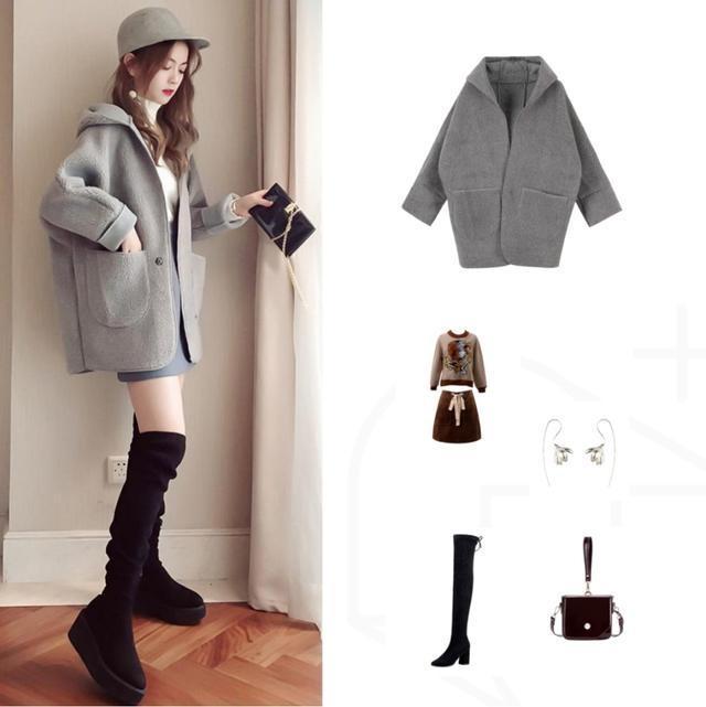 冬天穿时髦好看?短外套+过膝长靴,小个子到图片男生女生摸图片