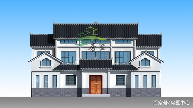 新中式园林别墅,一家人同住大庭院,爸妈看了笑廊别墅效果图过中式图片