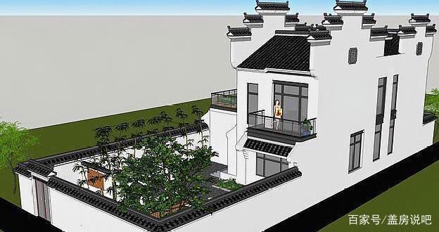 徽派新中式别墅,庭院盎然的绿意绝美,一家人住湘潭户型别墅v徽派图片