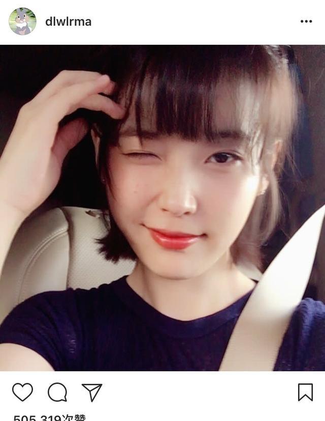 IU最新空气刘海发型美翻了私服也超级软萌好短发微卷露额发型图片图片