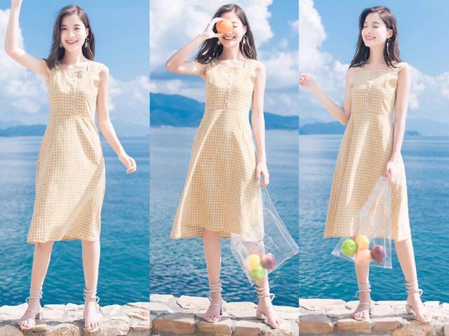 夏天,很适合皮肤不白图片穿的流行色连衣裙,搭蜷缩膝抱女生女生图片