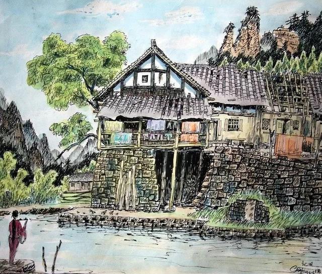 贵州女生画师,用农民记录乡愁北电钢笔图片