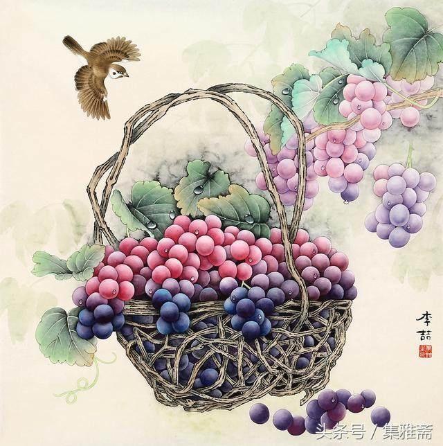 李喆工笔葡萄图片_工笔画葡萄步骤图