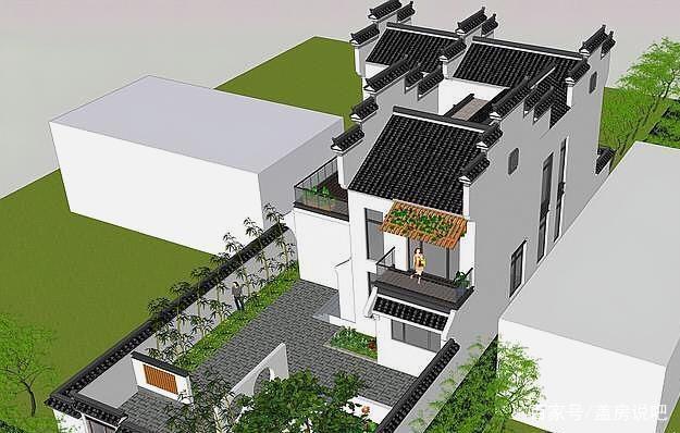 别墅新中式庭院,别墅盎然的徽派绝美,一家人住太西区园玉绿意图片