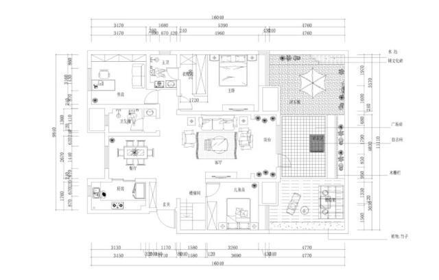 120平米的风格半包装修钱?简欧房子三居宽九点三米长十二长的室内设计图图片