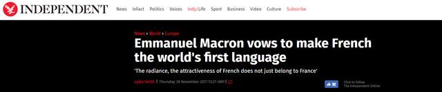 馬克龍說法語將成世界第一語言 英國網民坐不住了