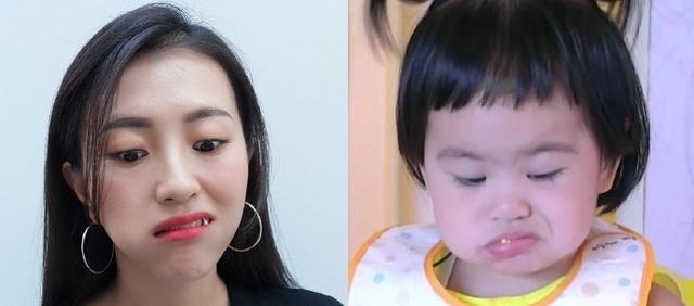 被这个妈逗笑!包文婧COS头像女儿搞笑表情,这搞笑蜜表情闺饺子包图片