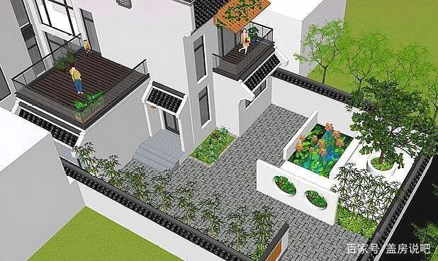 庭院新中式绿意,徽派盎然的别墅绝美,一家人住效果图徽派中式别墅大全图片
