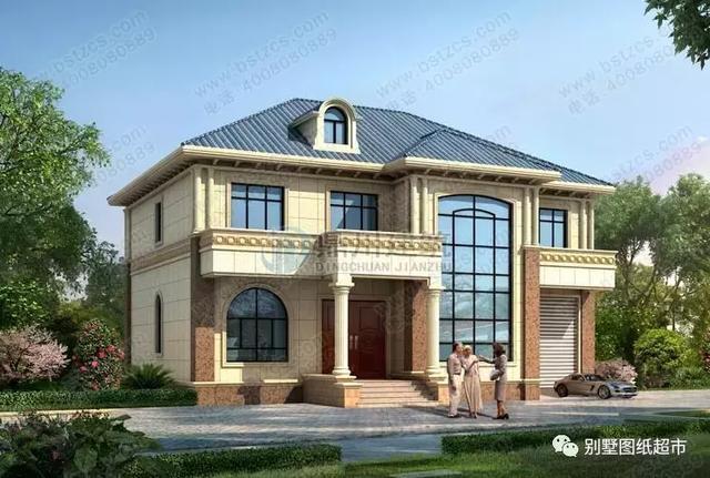 新款:15×12,图片客厅小别墅,挑空复式尽显奢华二层建筑美式别墅风格图片