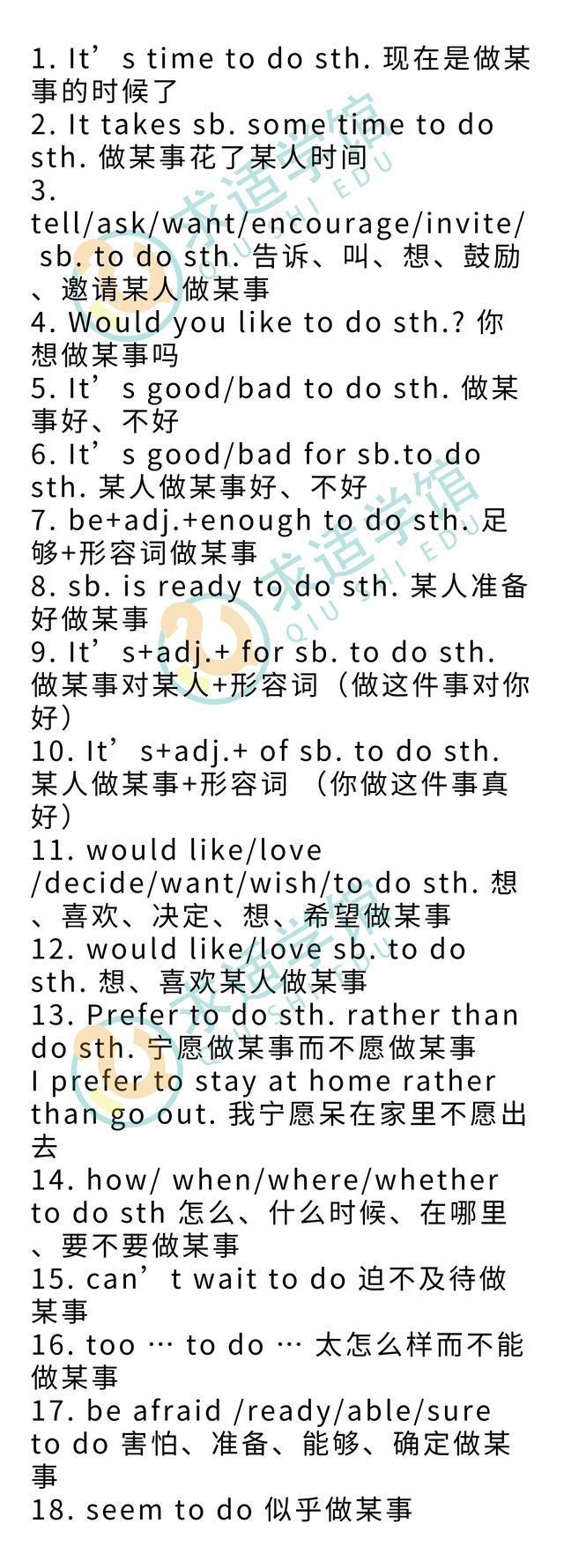 初中英語句型+doing和+todo初中全值得,洗澡動詞正太匯總圖片