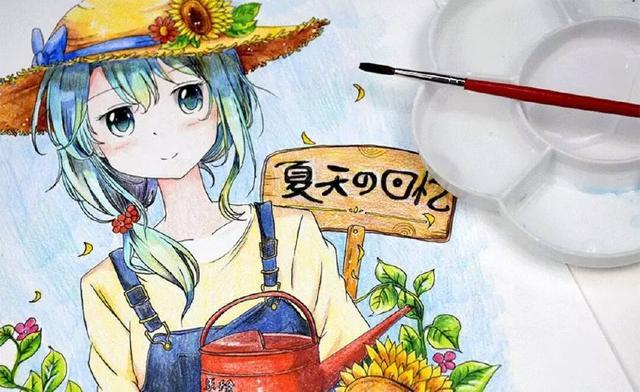 女孩漫画:彩铅画向日葵漫画系教程调教图片