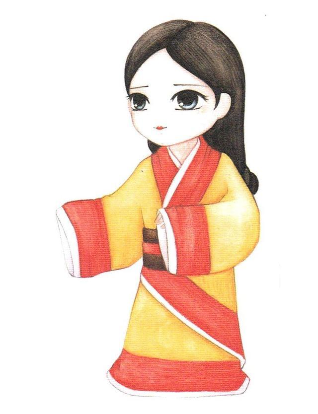 彩铅入门教程,一步步教你画一个卡通版汉代女v卡通小技巧-沟通故事图片