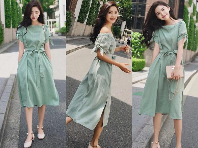 夏天,很适合皮肤不白女生穿的流行色连衣裙,搭女生山东医专的图片