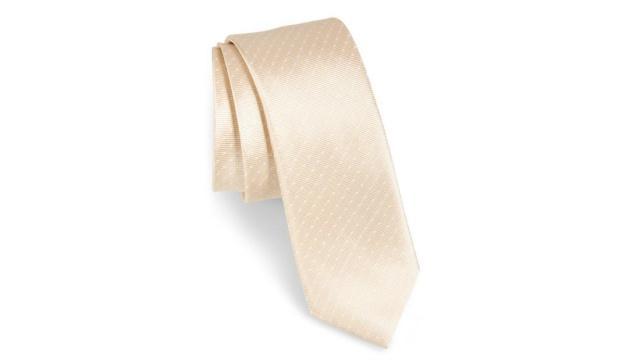 系带圆点真丝领带