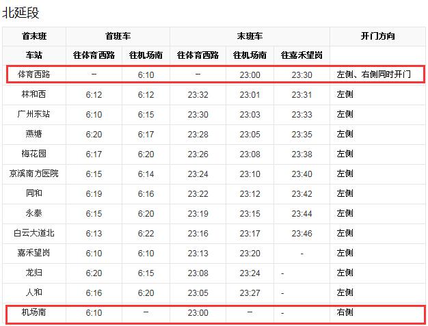 广州地铁三号线延长线全程(体育西到机场南)要